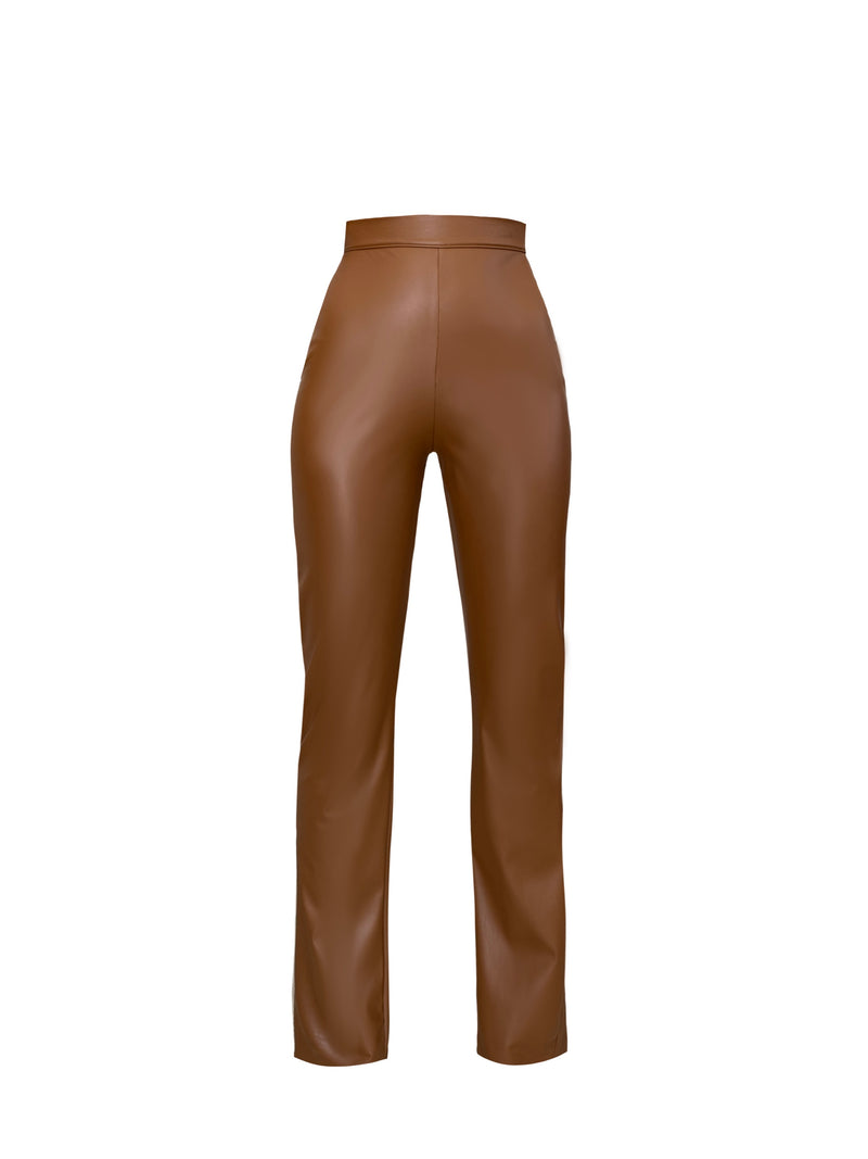 Ayra Brown Leather Pants