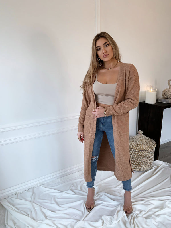 Cozy Knit Taupe Cardigan