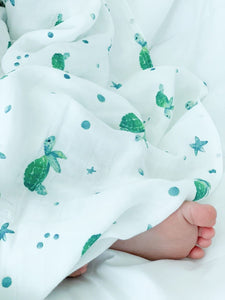 bamboo swaddle with turtles