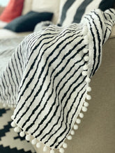 Load image into Gallery viewer, cotton blanket with pom-poms in black white stripes design
