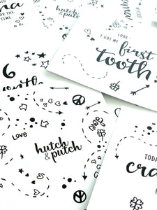 Baby milestone cards in black and white