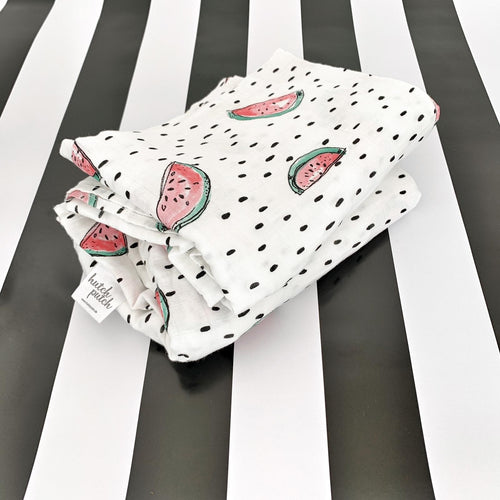 Bamboo swaddle with dots and water melon design