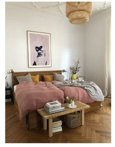 bed linen for king size bed in old rose / delicate pink color
