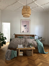 Load image into Gallery viewer, bed linen in grey with old green summer blankets