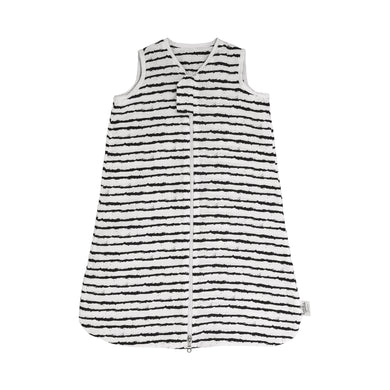 Baby sleeping sack in black and white stripes made of organic cotton - 1 tog