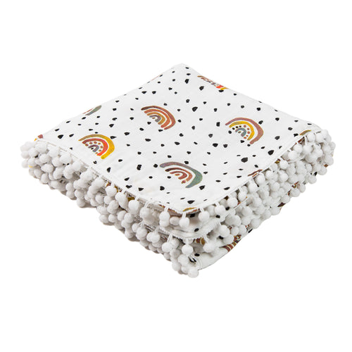 Blanket with Pom-poms  • Rainbow