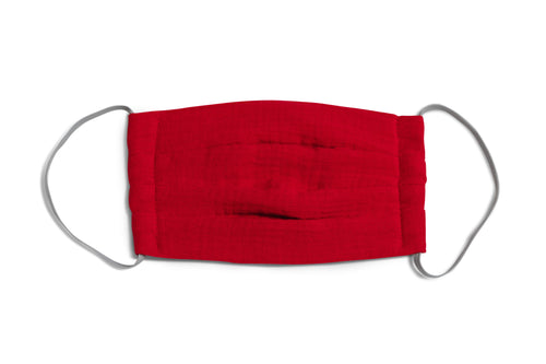 muslin mask made of 100% organic cotton in ruby red