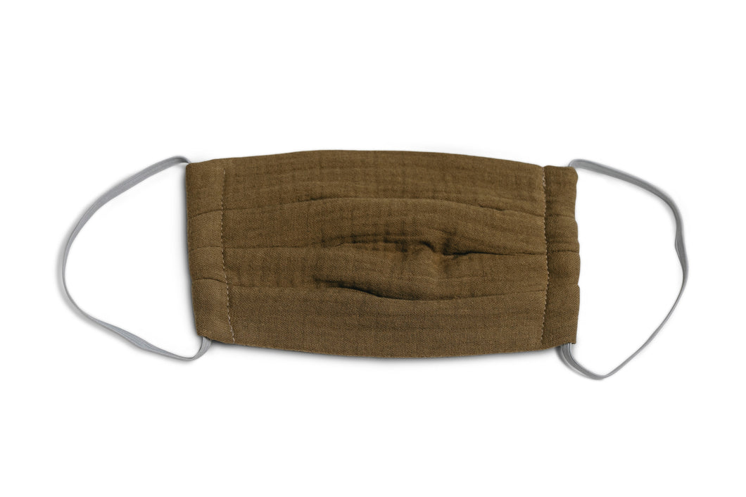 muslin mask made of 100% organic cotton in Olive