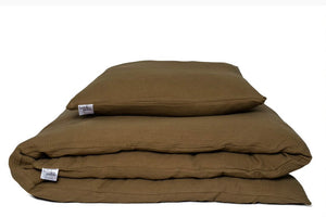 Olive bed linen including cushion and bedding cover in olive