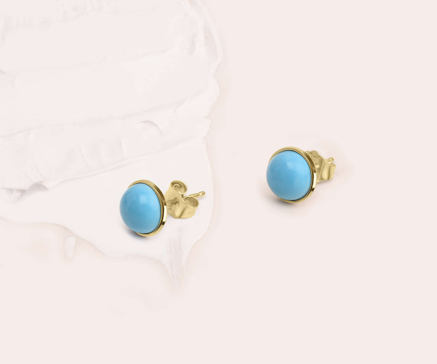 TURQUOISE BUTTON STUDS