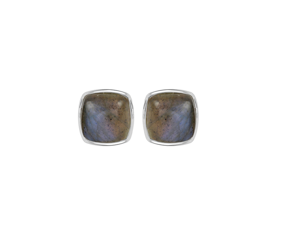 LABRADORITE BUTTON STUDS