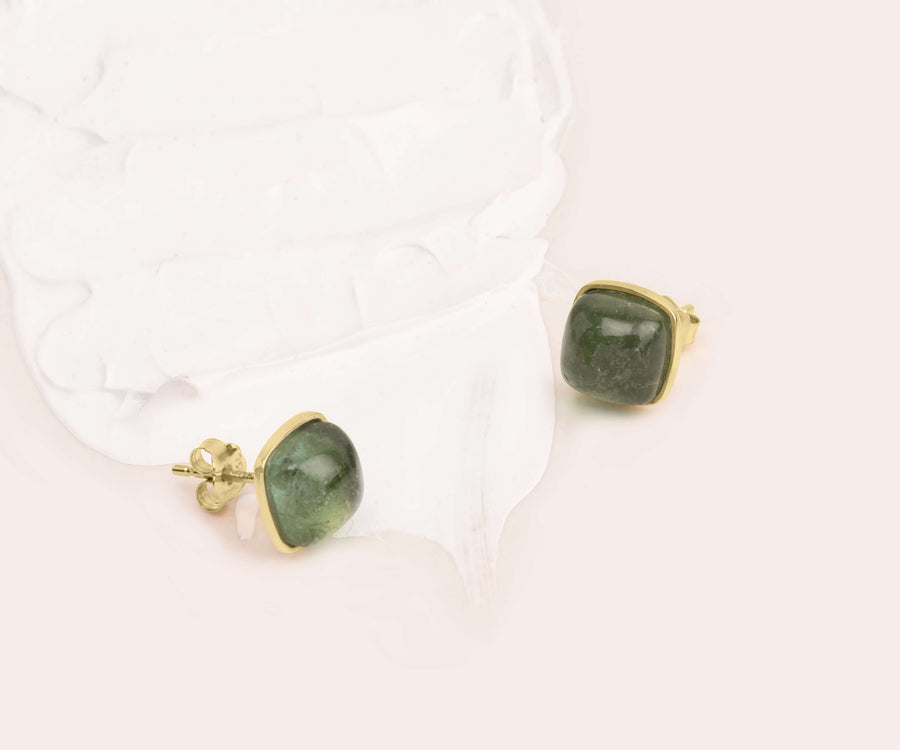 GREEN AVENTURINE BUTTON STUDS