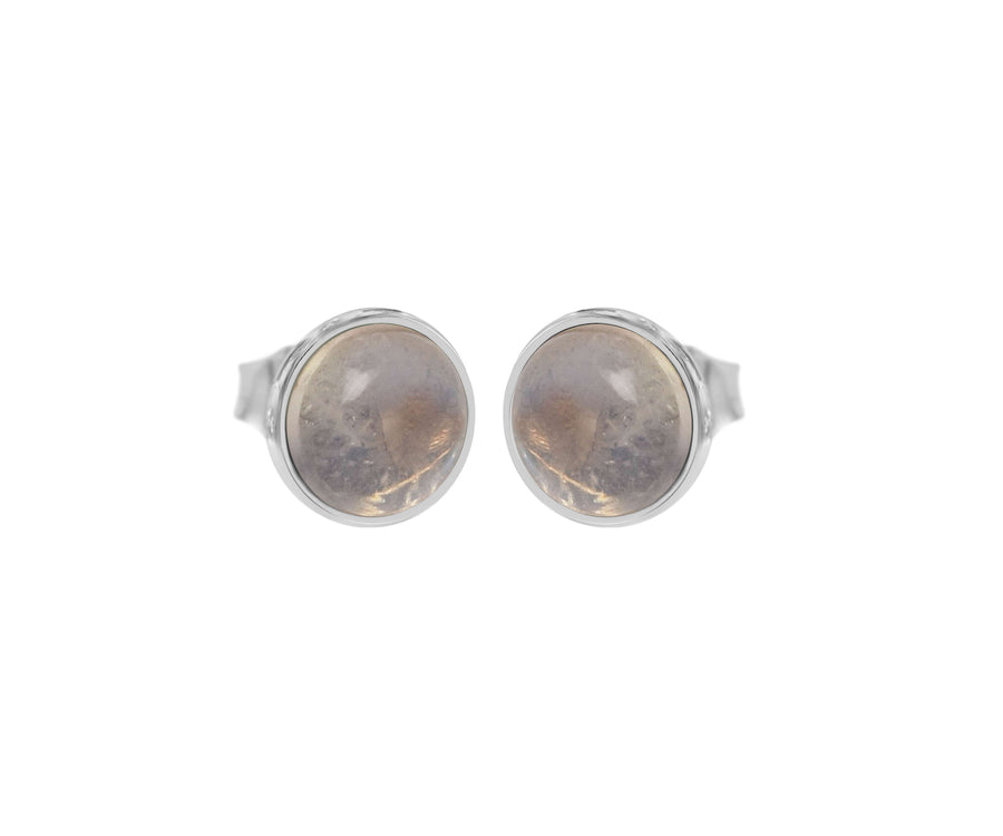 GREY MOONSTONE BUTTON STUDS