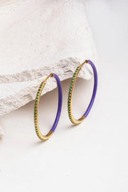 EVEN-STEVEN GEM ENAMEL HOOPS