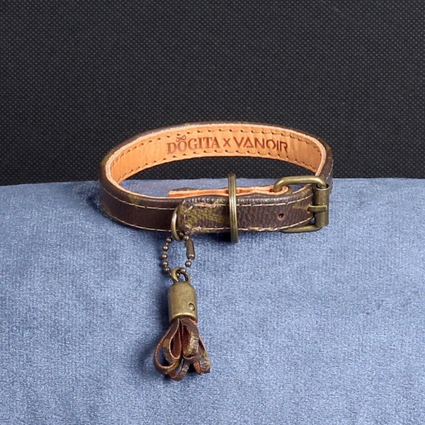 06/24 Handmade Limited Edition Halsband from vintage Louis Vuitton bag - Size 30 - DogitaNL