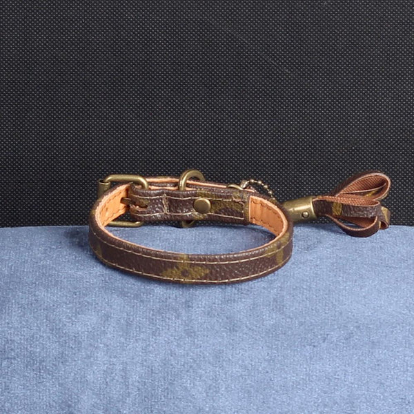 09/24 Handmade Limited Edition Halsband from vintage Louis Vuitton bag - Size 30 - DogitaNL