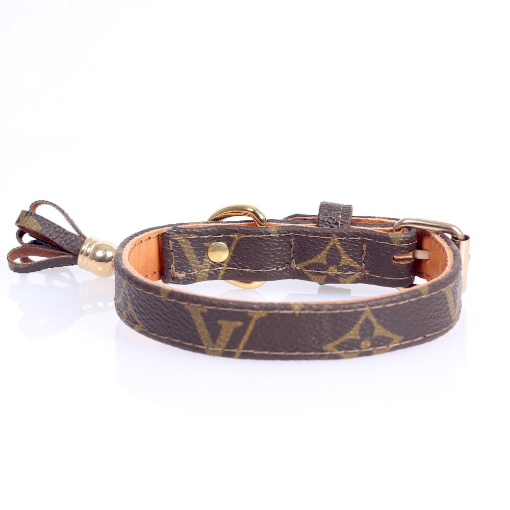 10/24 Handmade Limited Edition Halsband from vintage Louis Vuitton bag - Size 35 - DogitaNL