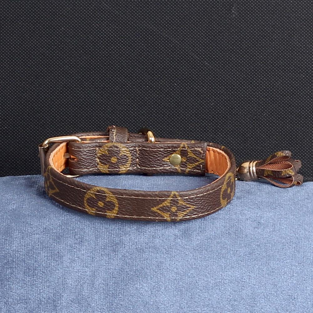 12/24 Handmade Limited Edition Halsband from vintage Louis Vuitton bag - Size 35 - DogitaNL