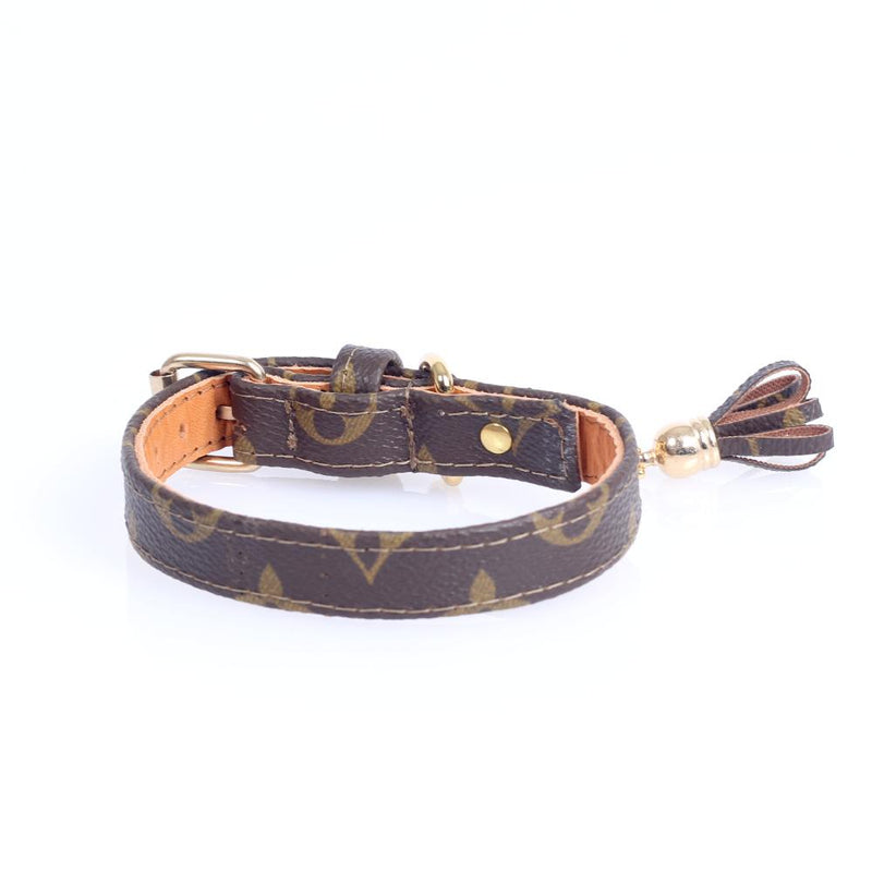14/24 Handmade Limited Edition Halsband from vintage Louis Vuitton bag - Size 35 - DogitaNL