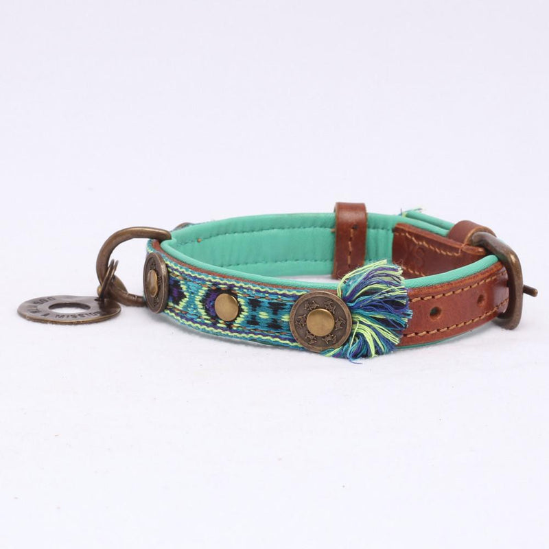 Hond Halsband Bohemian in Leer Blauw - Dog With a Mission