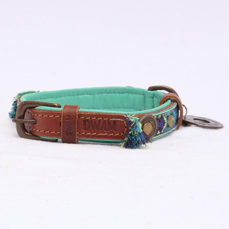 Boho Halsband in Leer Blauw - Dog With a Mission