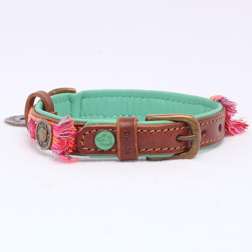 Boho Halsband in Leer Rose - Dog With a Mission