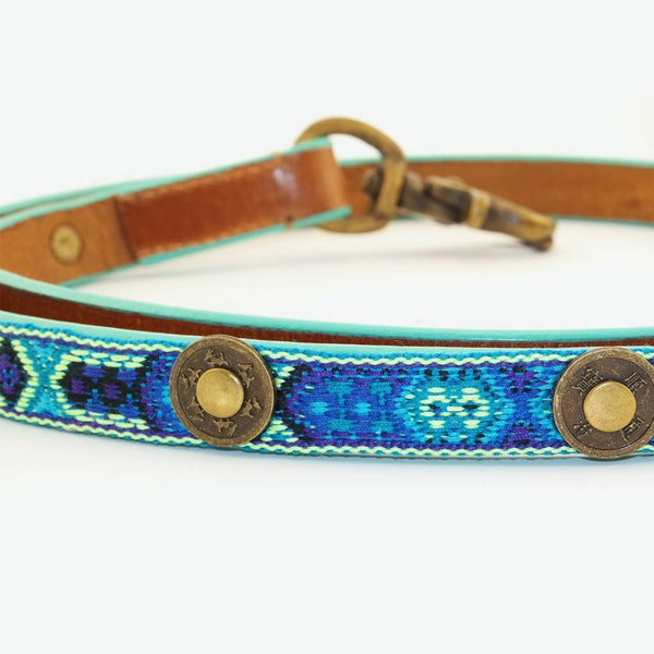 Boho Riem in Leer Blauw - Dog With a Mission