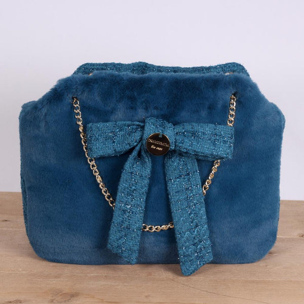 Channel Fur Bag in Ottanio Blue - Inamorada