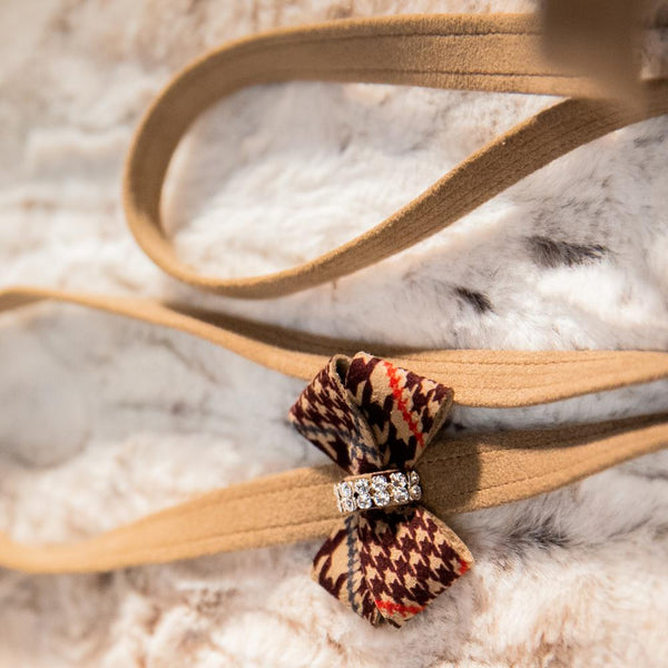 Check Brown Soft Riem - Susan Lanci Designs