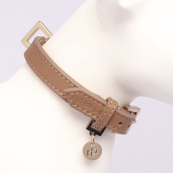 City Halsband in Leer Bruin - Not Too Pet