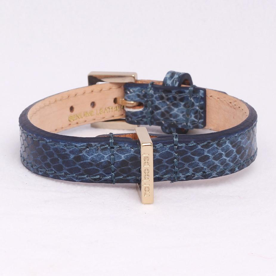City Halsband in Leer Pitone Blauw - Not Too Pet