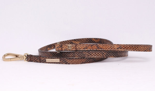 City Riem in Leer Leopard met Licht Goud - Not Too Pet