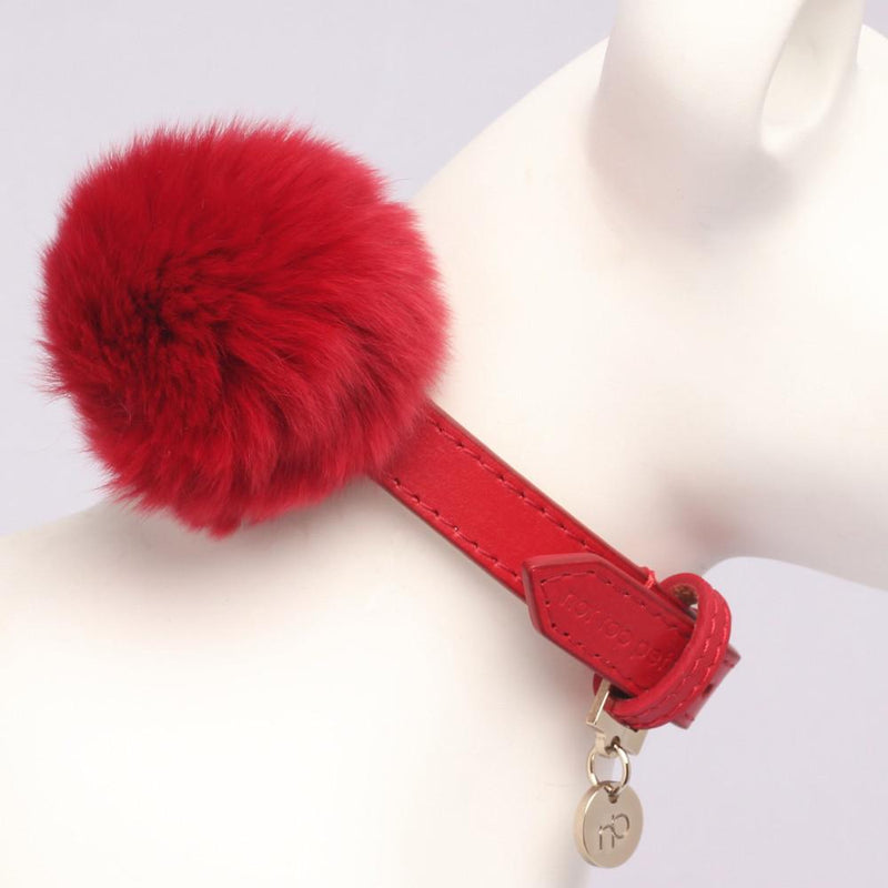 Fluffy Halsband in Leer Lipstick Rood - Not Too Pet