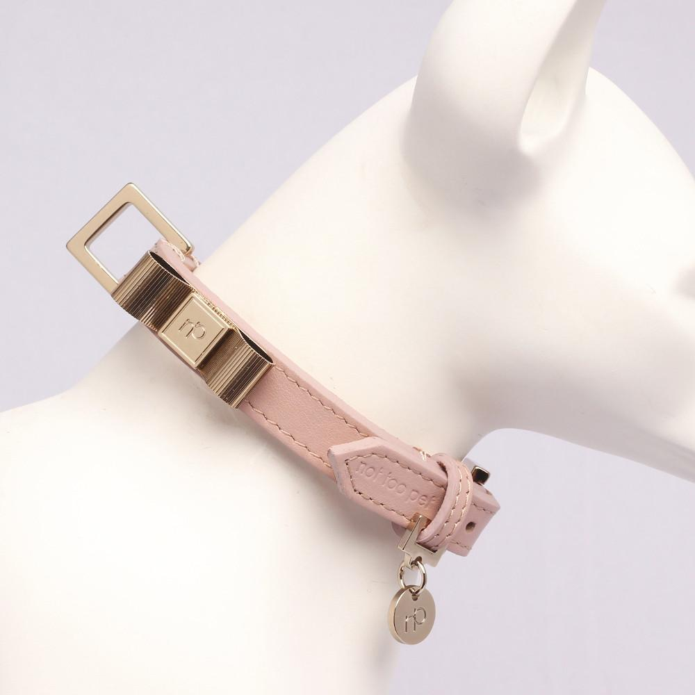 Gold Bow Halsband in Leer Rose - Not Too Pet