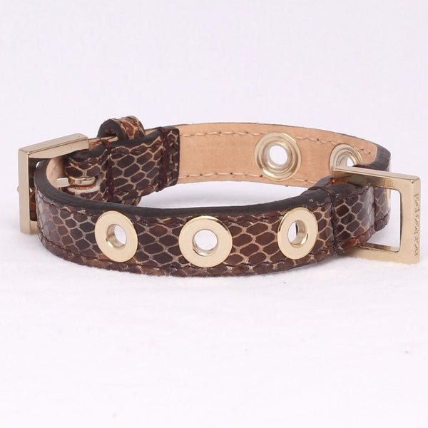 Studs Halsband Leopard in Leer Licht Goud - Not Too Pet