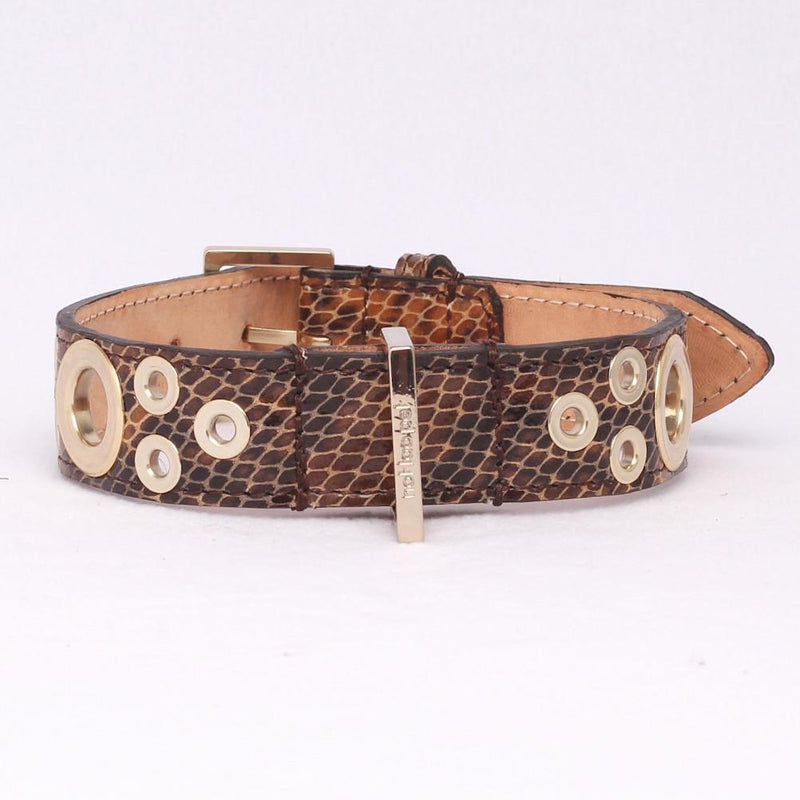 Studs Leopard XL in Leer Licht Goud - Not Too Pet