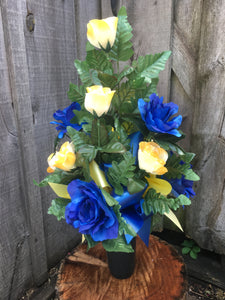 Blue and Yellow Cemetery Vase