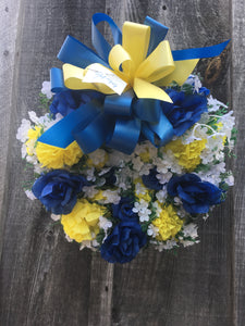 Blue, Yellow, and White Wreath
