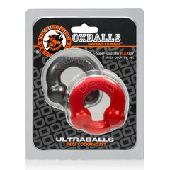 Ultraballs 2 Pack Cockring Steel And Red