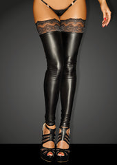 Power Wetlook Stockings With Siliconed Lace