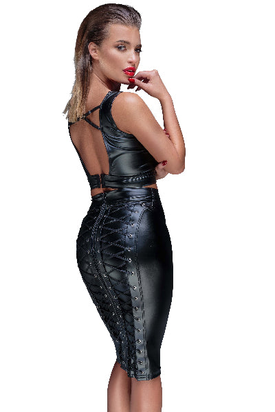 Power Wetlook Pencil Skirt With Long Zipper