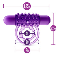 Play With Me The Player Vibrating Double Strap Cock Ring Purple