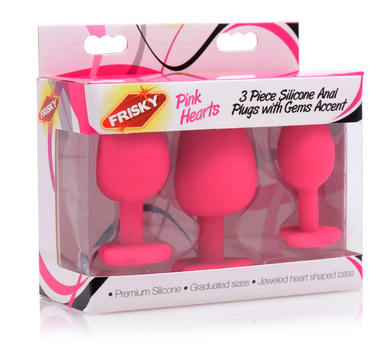 Pink Hearts 3 Piece Silicone Anal Plugs with Gem Accents