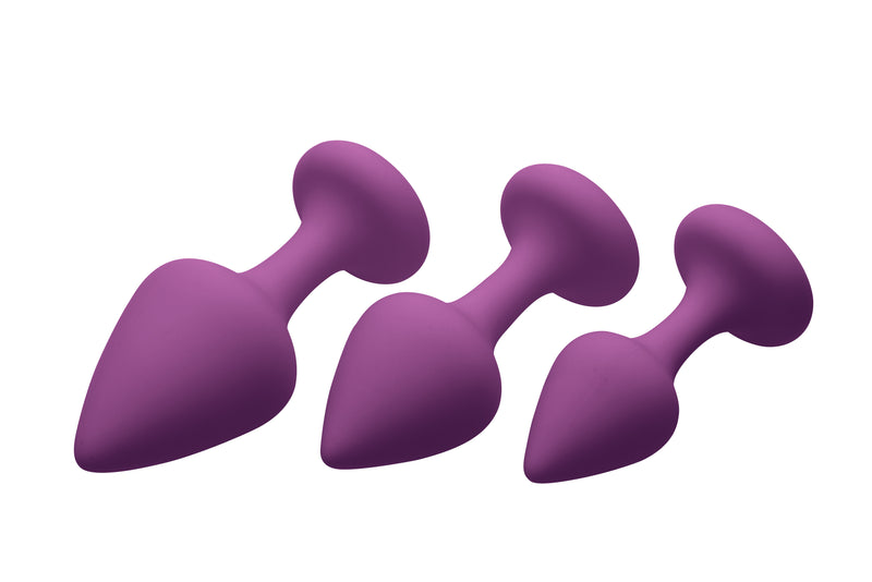Purple Pleasures 3 Piece Silicone Anal Plugs