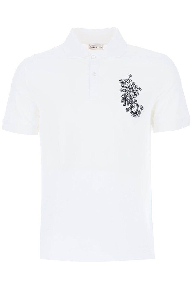Alexander McQueen Floral Chest Logo Polo White