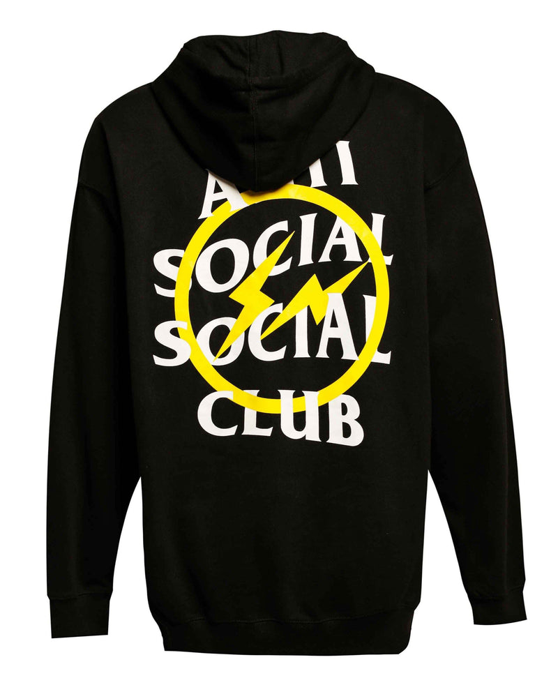 ASSC Anti Social Social Club x Fragment Yellow Thunder Bolt Hoodie Black