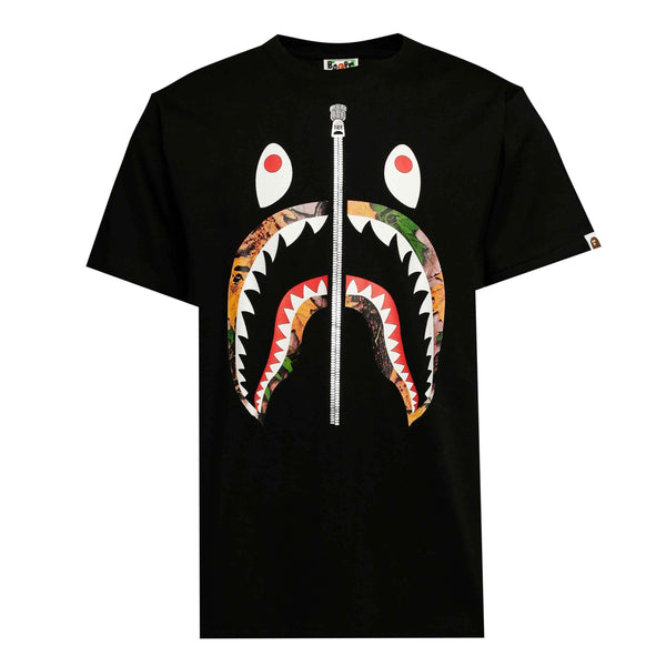 BAPE Camo Leaf Shark Tee Black