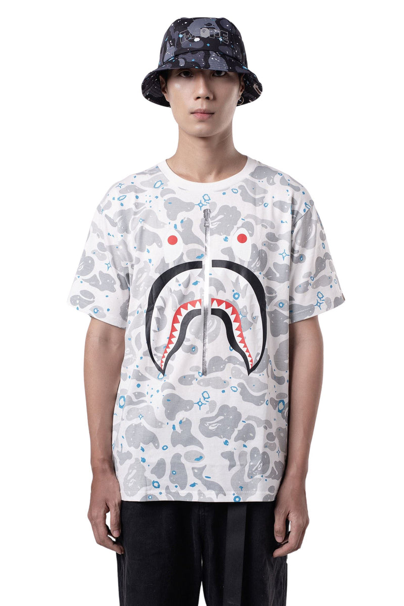BAPE Full Space Camo Shark Tee White