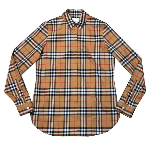 Burberry Long-Sleeve Check Cotton Poplin Shirt Archive Beige