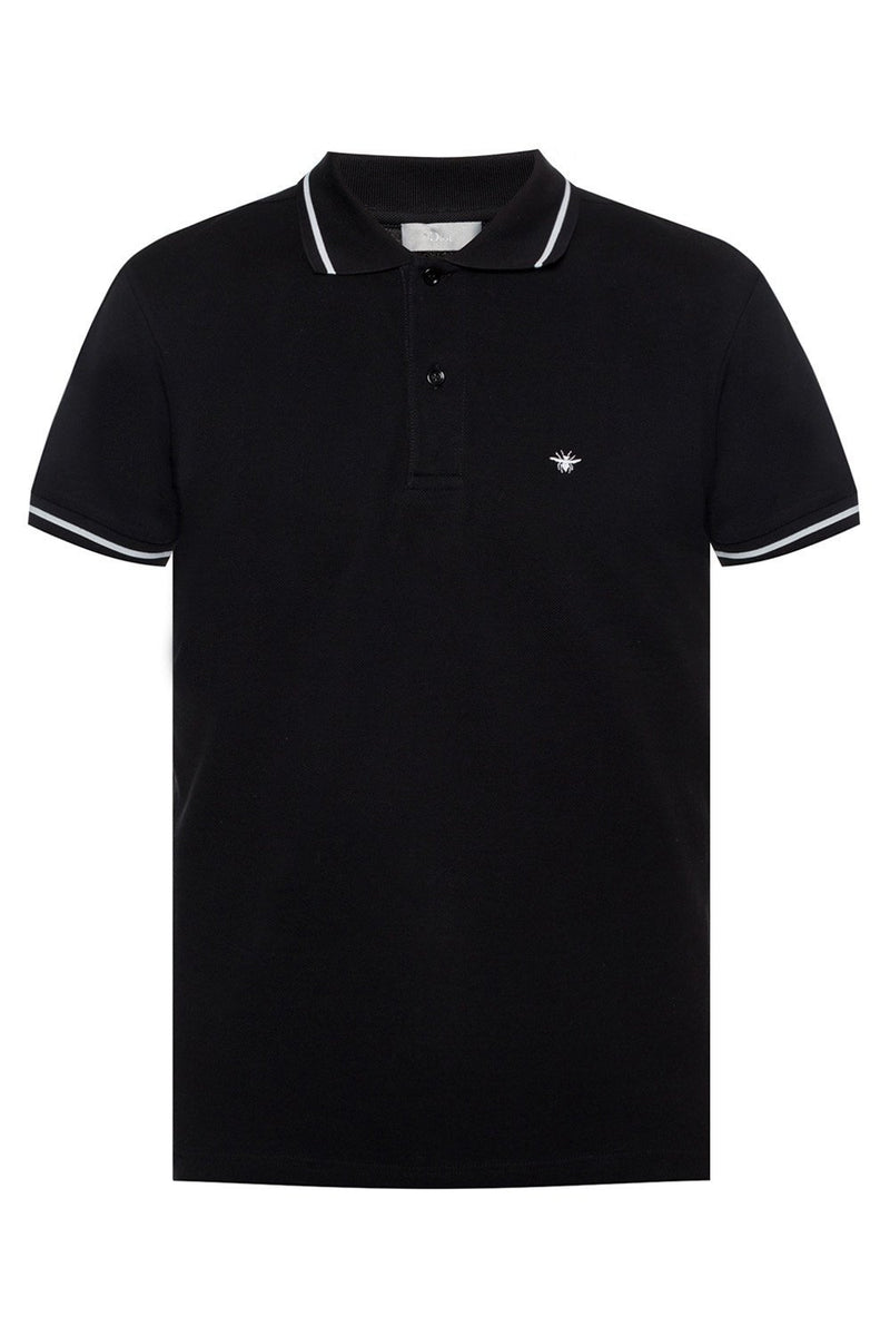 Dior Bee Embroidered Polo Black